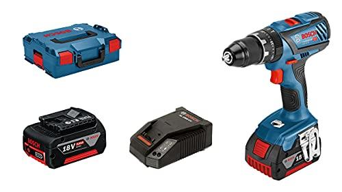 Bosch Professional Trapano Avvitatore Edizione Amazon con Percussione a Batteria GSB 18V-28, 2 Batterie da 5.0 Ah, 18 V, Coppia di Serraggio 63 Nm, Valigetta L-BOXX