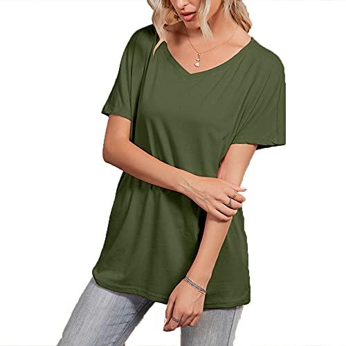 Jersey Informal De Primavera Y Verano para Mujer, con Cuello En V, Color SóLido, Camiseta Holgada De Manga Corta, Top para Mujer
