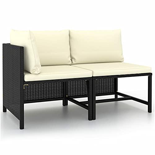 Festnight Sofás de Jardín Exterior   Sofa Exterior Terraza   Lounge Exterior Set de Muebles con Cojines,Ratán Sintético,Muebles de Jardín para Jardín Balcón Patio Piscina Terraza (2 Piezas,Negro)