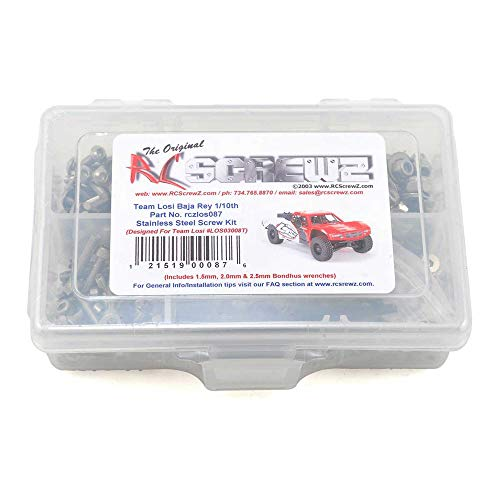 RCScrewZ Losi Baja Rey 1/10 Desert Truck Stainless Steel Screw Kit, Complete Replacement for RC Car Rusted and Stripped Screws, Race Quality Upgrade, Assembled in USA. los087 for Losi Kit (LOS03008T)