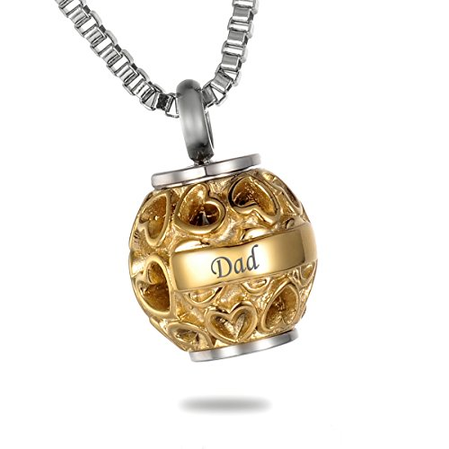 HooAMI 'Dad+Always in My Heart Heart Beads Family Memorial Ashes Pendant Jewellery Cremation Urn Necklace, Gold