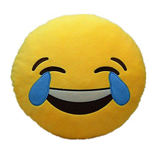 LI & HI–Cojín de asiento redondo en forma de emoticono que ríe de la risa 30 x 7 x 20 cm Schrei,gelb