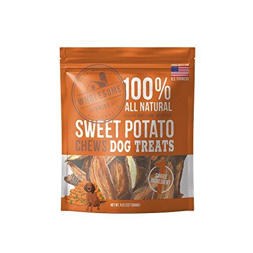 Wholesome Pride Sweet Potato Chews Dog Treats, 8 oz - Vegan, Gluten and Grain-Free Dog Snacks - Made in USA