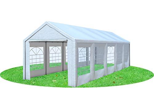 Stabilezelte Partyzelt 3x9 Classic Premium PVC 400 g/m² wasserdicht inkl. Seiten Festzelt Gartenzelt Weiß