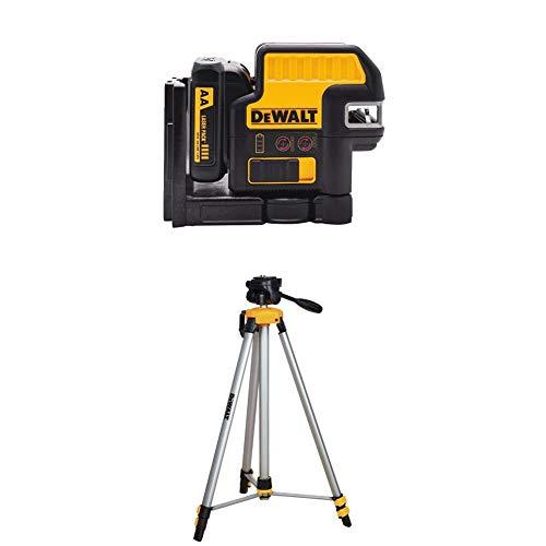 DEWALT DW0825LR 12v 5 Spot + Cross line Red Laser with DW0881T Laser Tripod