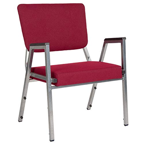Flash Furniture HERCULES Series 1500 lb. Rated Burgundy Antimicrobial Fabric Bariatric Medical Reception Arm Chair with 3/4 Panel Back