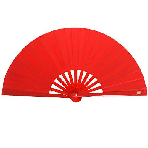 AIUIN 1 pcs Abanico Plegable Paño Desnudo Abanico de Tela Hueso de Bambú Abanicos Hechos a Mano,33 CM (Rojo 2)