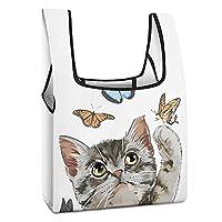 ショッピングバッグ 猫と蝶 (2) コンビニエコバッグ エコバッグ ランチバッグ 人気 買い物袋 シンプルなトートバッグ エコバッグ 折りたたみ式ファッション 防水