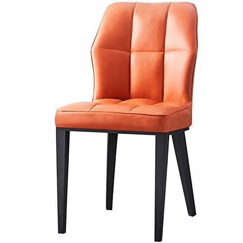 LJFYXZ Esszimmerstühle Arc Rückenlehne Restaurantmöbel Side Dining Office Lounge Chair PU-Kissen Mit stabilen Metallbeinen Tische und Stühle (Color : Orange)