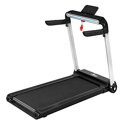 Fisup Folding Treadmill with 18' Wide Belt Electronic Running Machine with LCD Display and Bluetooth Speaker for Home Use No Installation Required
