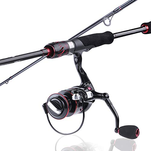 PLUSINNO Red Eagle Spinning Fishing Rod and Reel Combos, 7FT Fishing Rod, IM 6 Graphite Spinning Rod, Stainless Steel Guides with SiC Inserts, EVA Handles & Fighting Butt-B