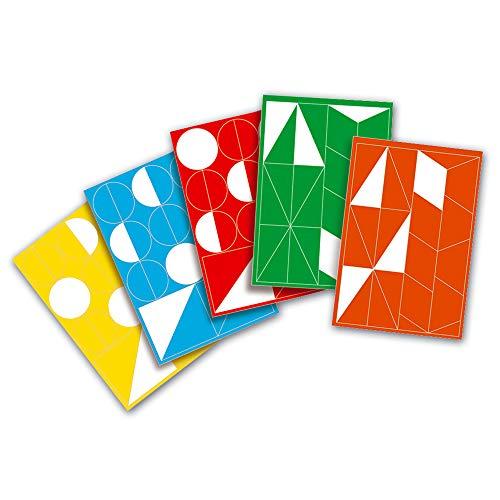 MarpaJansen 527.500-00 geometrix - geometrische stansdelen van gekleurde raamfolie - (35 x 50 cm, 5 vellen) - gesorteerd in 5 kleuren, meerkleurig, één maat