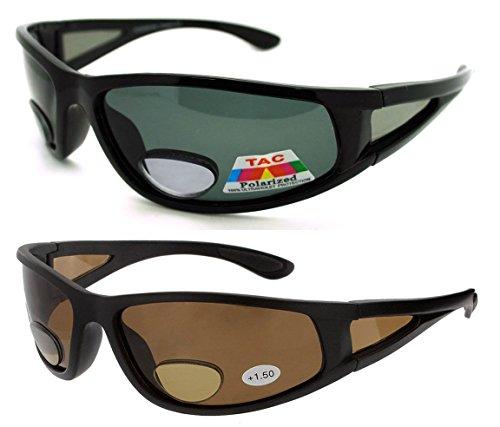 2 Pair of Polarized Bifocal Sunglasses - Outdoor Reading Sunglasses (Black Brown, 2.5 x)