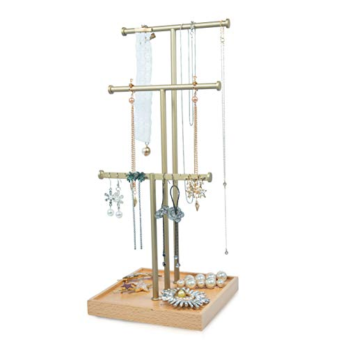 Jewelry Organizer Tree Stand Holder 3 Tier Tabletop Necklace Holder With Gold Metal And Natural Wooden Storage Base for Jewelry Stand Bracelet Earrings And Ring Tray Jewelry Holder Hanger