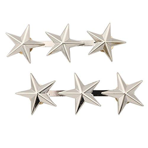 Générique-Lot de 2 accessoires d'officier de l'armée américaine 3 Star général de corps d'armée rang Badges broches Argenté