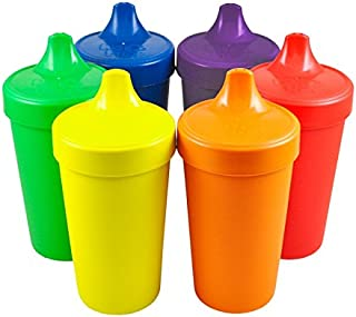 Re-Play Made in The USA, Set of 6 No Spill Sippy Cups - Yellow, Kelly Green, Navy, Amethyst, Red, Orange(Crayon Box)
