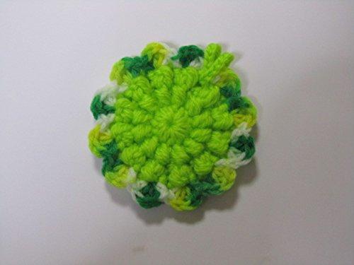 アクリル・エコたわし* 洗剤なしでピッカピカ~!(きれいな黄緑色です~。)全体・抗菌防臭 マーブル部・銀イオン配合糸!ちょっぴり違うすこ~し小さめ新タイプ~)