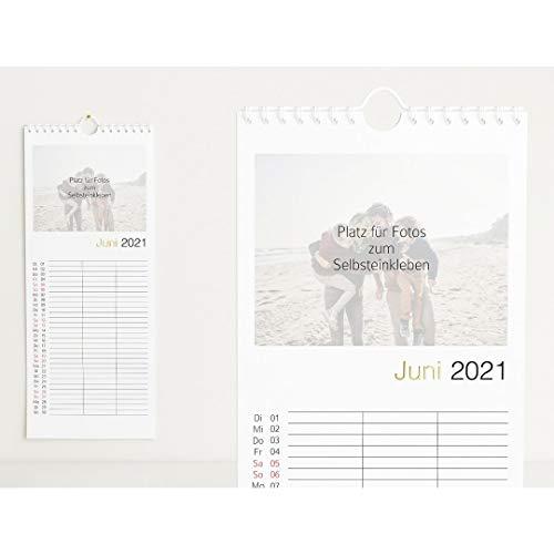 sendmoments Familienkalender 2021 gestalten mit Veredelung in Gold, Familienzeit, Bastelkalender mit 3 Spalten, Spiralbindung, Hochformat 148x360