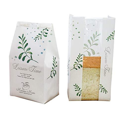 100PCS Groene Blad Brood Toast Tas Transparant Open Raam Lamineren Kraft Papier Voedsel Verpakking Olie Proof Bakken Cookies Tassen Deep Sapphire