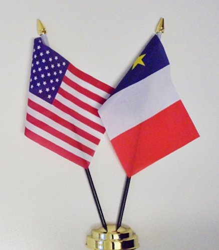 1000 Flags Les États-Unis d'Amérique et l'Acadie l'amitié Drapeau de Table écran 25 cm (25,4 cm)