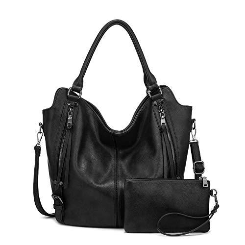 Realer Damen Handtaschen Groß Shopper Lederhandtasche Schultertasche Umhängetasche Geldbörse Hobo Damen Taschen Set für Büro Schule Einkauf Reise 2pcs Schwarz