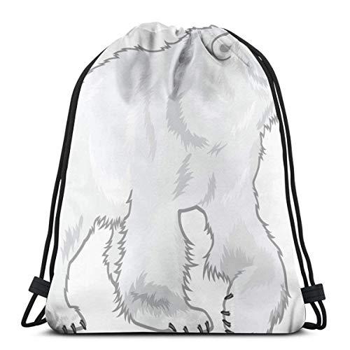 Yuanmeiju Polar Bear 3D Print Kordelzug Rucksack Rucksack Shoulder Bags Sporttasche for Adult 16.9'X14'