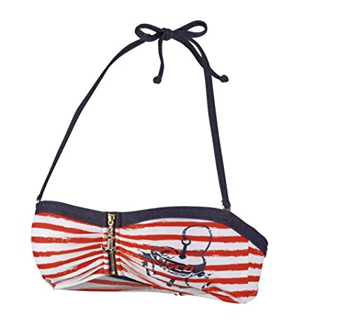 Beco Beermann Damen Bikini-Top, C-Cup Sailors Romance Bikinioberteil, rot/Marine, 40