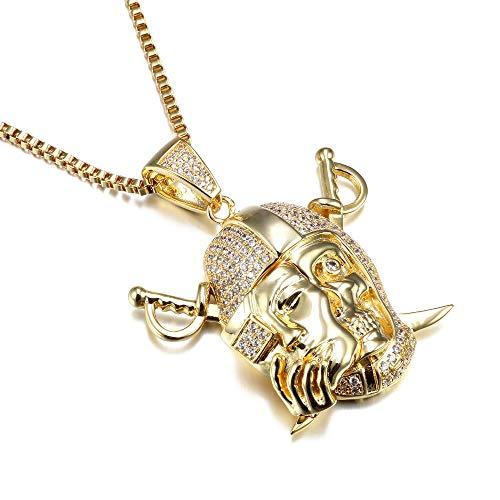 Pendants&necklaces For Men Cz Crystal Punk Hip Hop Jewelry Cz Gold Color Male Rock Strange Fashion Jewelry Male Box 75cm