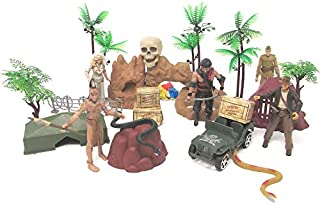 Indiana Jones 20 Piece Play Set Featuring 5 Random Indiana Jones Character Figures and Themed Accessories