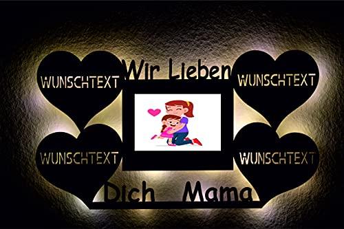 Regalo para el Día de la Madre LED con marco de fotos, luz nocturna, corazón personalizable con texto personalizado, regalo para madre