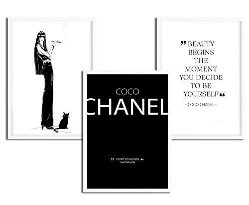 Fashion Bild, Beauty Poster Set, Sprüche Bilder Schwarz-Weiß, Kunstdrucke Wohnzimmer