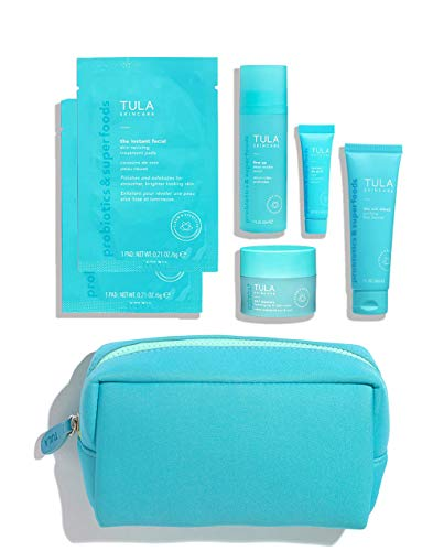 TULA Skin Care Ageless Skin Begins Here Level 1 Firming & Smoothing Discovery Kit | Face Wash, Eye Serum, Face Serum, Treatment Pads, Face Moisturizer and Travel Bag to Treat Early Signs of Aging and Boost Overall Radiance