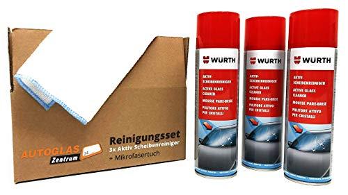 Original 3 x WÜRTH - Aktiv-Scheibenreiniger + 1 Microfasertuch GRATIS - Profi-Set / 3 x 500ml / (15,27 EUR/l)