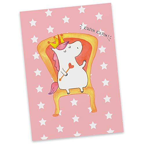 Mr. & Mrs. Panda kaart, wenskaart, Ansichtkaart Eenhoornkoning - Kleur Rode Pastel