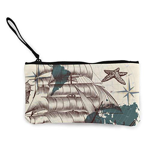 Conchas de Barcos Antiguos y Mapa de Viaje Cartera de Lona Exquisitos monederos El pequeo Monedero de Lona se USA para Guardar Monedas, identificacin y Otros