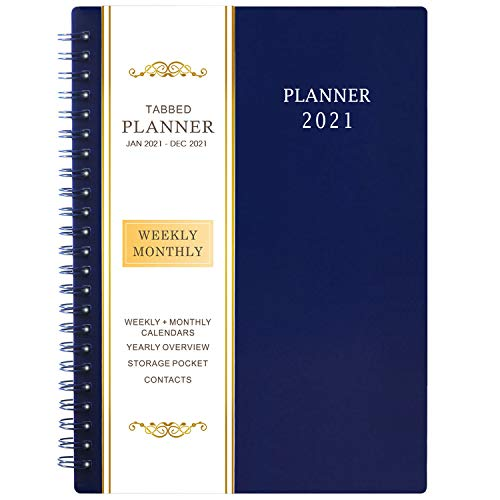 2021 Planner - Weekly & Monthly Planner with Flexible Cover, Jan - Dec, 6.25' × 8.3', Strong Twin - Wire Binding, Round Corner, Improving Your Time Management Skill