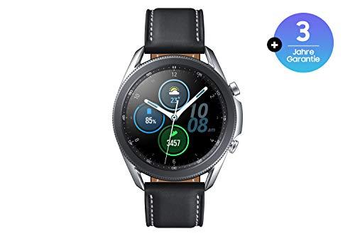 Samsung Galaxy Watch3, runde Bluetooth Smartwatch für Android, drehbare Lünette, Fitnessuhr, Fitness-Tracker, großes Display, 45 mm, silber, inkl. 36 Monate Herstellergarantie [Exkl. bei Amazon]