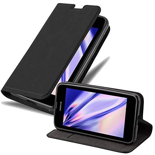 Cadorabo Hülle für Nokia Lumia 530 - Hülle in Nacht SCHWARZ – Handyhülle mit Magnetverschluss, Standfunktion & Kartenfach - Hülle Cover Schutzhülle Etui Tasche Book Klapp Style