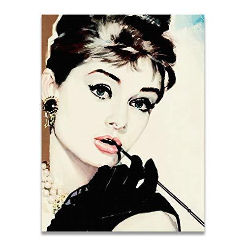 Impresión De La Lona Audrey Hepburn Retratos Famosos Estrellas De Cine Carteles E Impresiones Lienzo Arte Pintura Pared Cuadros Sala De Estar Decoración del Hogar