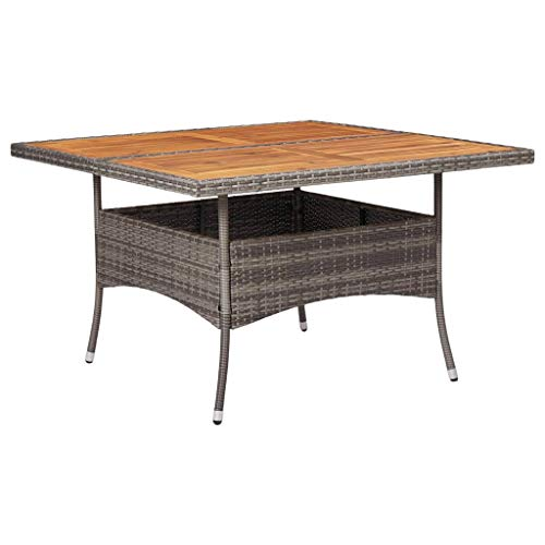 Festnight Outdoor Dining Table Garden Table,Square 4 Seater Grey Waterproof Patio Furniture Poly Rattan and Solid Acacia Wood
