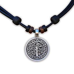 HANA LIMA ® Lederkette Halskette Tree of Life Herren Damen Surferkette Surferhalskette