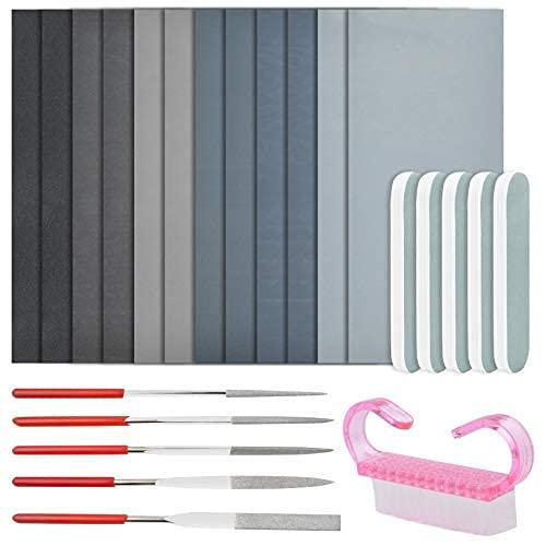 23 piezas de herramientas de pulido de fundición de resina, kit de pulido y lijado de resina moldes de fundición conjunto de herramientas incluyendo 12 arena