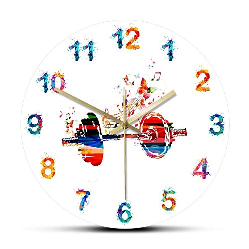 hufeng Reloj de Pared con Mancuernas y Mariposas de Colores Reloj de Pared Relojes de diseño Moderno para el hogar Acuarela Números árabes Cuarzo Mute Horologe 12 Pulgadas