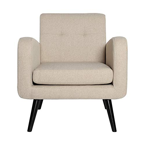 Mid Century Modern Fabric Arm Chairs for Living Room, Living Room Chairs, Accent Chairs, Beige, Set of 1