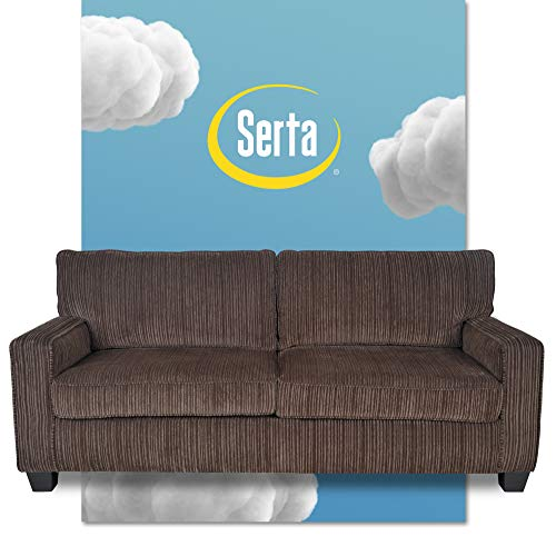 "Serta Palisades Upholstered Sofa, Living Room Couch for Small Spaces, Ultra Sturdy Solid Wood Frame, Soft Pet Friendly Fabric, Pillowed Back Cushions, Quick Easy Assembly, 78"", Brown"