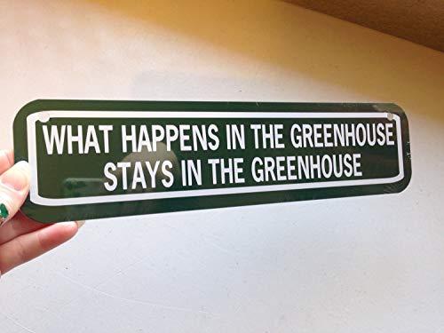 Wat gebeurt er in de kas blijft in de kas Funny Garden Sign Aluminium metalen teken