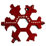 SnoFlake Tools - 19 in 1 EDC Snow Flake Explorer Keychain Multi Tool | Includes Wrenches, Screwdrivers, Bottle Opener & Box Cutter | 420 Tool Grade Stainless Steel with Rust Proof Red Electrocoating