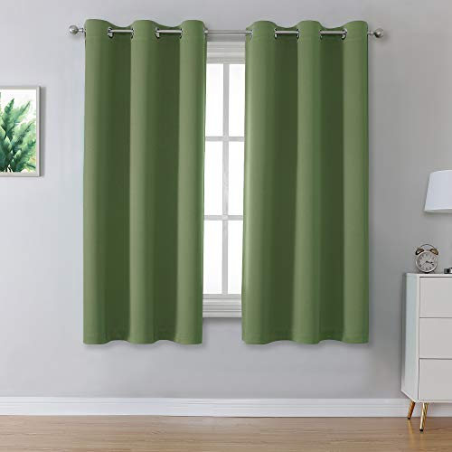 Sage Green Solid Curtains for Bedroom Short Small Window Treatment Blackout Thermal Insulated Curtain Panels 38 by 54 Inch Length with Grommet Set of 2 Panels