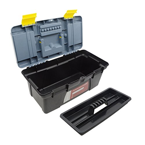 Saim Light-duty Toolbox Portable Plastic Hand Tool Box with One Main Compartment and Small Storage in Lid