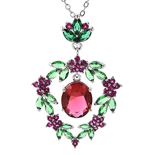TJC Floral Necklace for Women Jewellery for Nature Lover Simulated Red Garnet, Simulated Emerald and Simulated Ruby